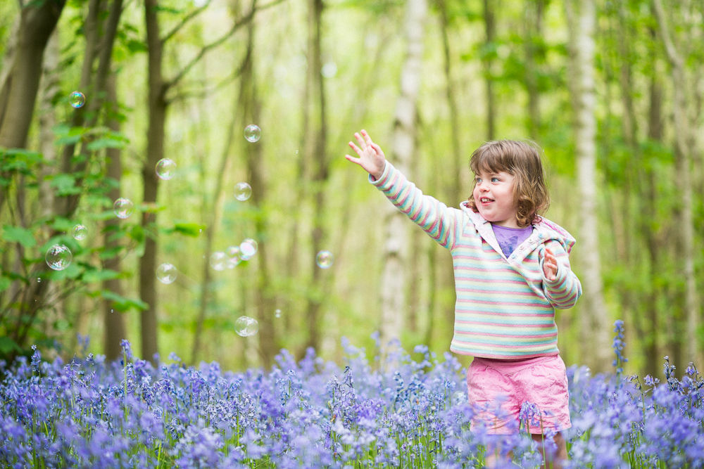 CHASING BUBBLES IN BLUEBELL WOODLAND