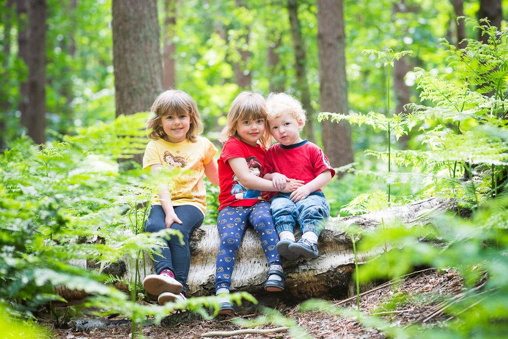 KIDS SITTING ON A LOG PORTRAIT IN WOODLAND
