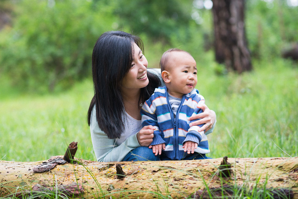 BABY AND HIS MUM WITH A FALLEN TREE