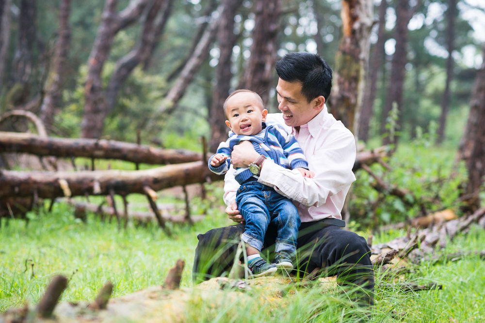 FATHER AND SON IN THE FOREST PORTRAIT