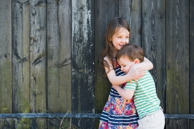 HUGGING CHILDREN PORTRAIT