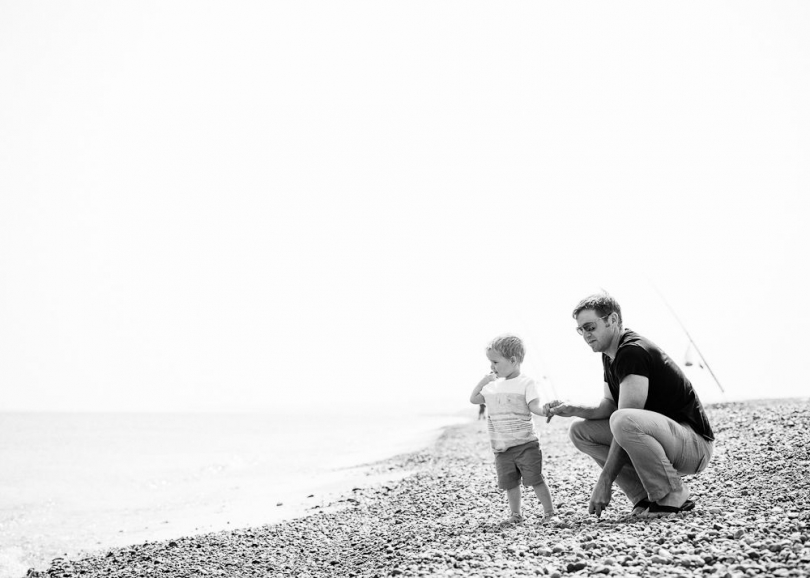 BLACK AND WHITE PORTRAIT CHILD AND FATHER NORFOLK BEACH