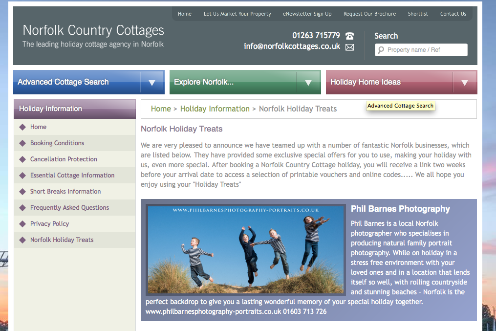 NORFOLK COUNTRY COTTAGES HOLIDAY TREATS OFFER